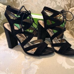 Sam Edelman black suede high heel dress sandals.